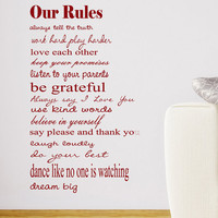 Our Rules Vinyl wall decal 20 X 34 for kids playroom, home decor