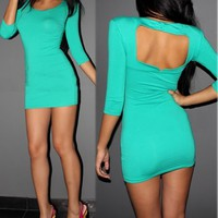 Royal New Green Women Party Evening 3/4 Sleeve Clubwear Sexy Tunic Dress