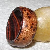 Redwood Burl Lined With Cocobolo, Custom Wood Ring
