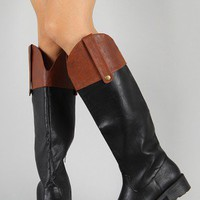 Qupid Relax-92X Two Tone Round Toe Riding Knee High Boot