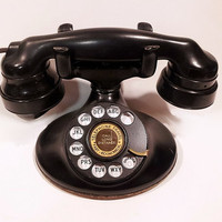 WORKING- Black Rotary Phone - 202 Model 1934 RInger Box Included