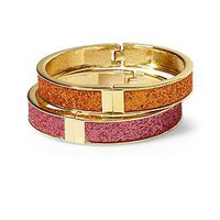 Betsey Johnson Glitter Hinged Bangle Duo | Piperlime