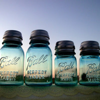 Vintage Blue Ball Perfect Mason Jar Solar Lights Quart and Pint Size - Set of 4 - High Quality