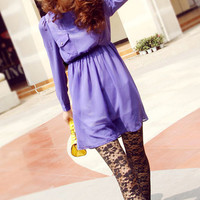 Long Slim Purple Dress at Romwe