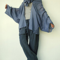 NO.89    Bluish Grey Cotton Kimono Blouse Tie  Front  Collar Cardigan