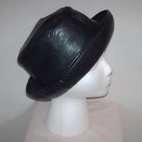 Vintage 1970s Fedora Hat Leather Style