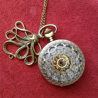 Antique bronze  Filigree Pocket Watch necklace with octopus charm