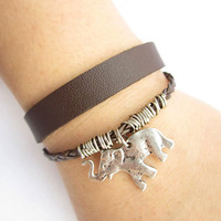 antique silver elephant Bracelet---double-deck bracelet&brown leather braid chain