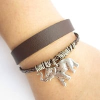 antique silver elephant Bracelet---double-deck bracelet&amp;brown leather braid chain