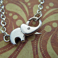 Tiny Elephant Bracelet Rolo Chain Fashion Jewelry Antiqued Silver Tone Baby Elephant Clasp Trunk Up For Good Luck By Cosmic Firefly