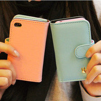 Womens Wallet Flip Leather Stand Cover Case for iPhone 4 4S