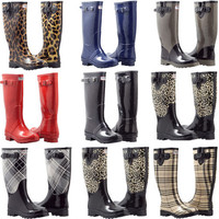 Women&#x27;s Flat Wellies Rubber Rain &amp; Snow Boots RainBoots * 9 Styles * All Sizes