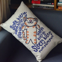 Soft Kitty Print Decorative Pillow on Luulla