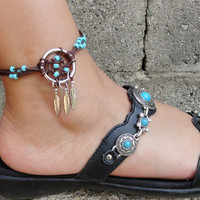 Holiday Sale - Dream Catcher ANKLET or BRACELET Turquoise and Brown Adjustable