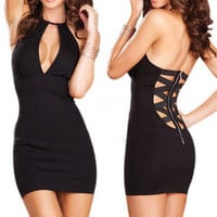 Sexy Fashion Women Party Clubwear Cocktail Zipper Back Mini Dress BD205 BK