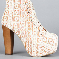 The Lita Shoe in Beige Lace and Tan Macrame