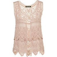 Light pink crochet waistcoat