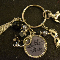 Grey and Black 50 Shades of Grey Laters Baby Silver Bezel Keychain, Birthday Gift, Bridesmaids, Purse Tag, Party Favor