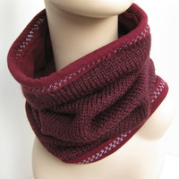 Cowl Neck Warmer Circle Infinity Knit Wool Scarf in Maroon Purple Women's Eco Chic Style Fashion Accessory