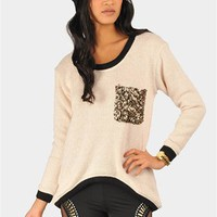 Daria Sequin Pocket Sweater - Ivory at Necessary Clothing
