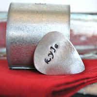 1 Custom Guitar Pick - 1 Name, Initials or Date only - Upcycled Metal Eco Friendly