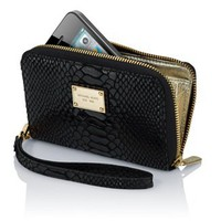Michael Kors Essential Zip Wallet for iPhone 5 / 4S- Black Python