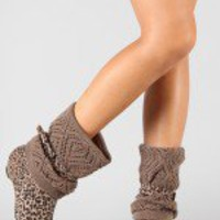 Tipsy-1 Buckle Crochet Leopard Mid Calf Boot