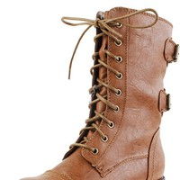 Diva Lounge Timberly02 Whisky Leatherette Round Toe Combat Boots Shop Boots at MakeMeChic.com