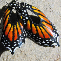 Monarch Butterfly Earrings Enamel Unique by OxOriginalArtJewelry