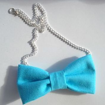 Love What's Missing | Blue Bowtie Necklace | Online Store Powered by Storenvy
