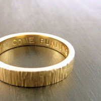 Gold Wedding Ring Wood Grain Texture 14k by someplaceelsewhere