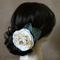 Amelia Hair Clip - Cream Ivory Aged White Silk Ranunculus Flower Deep Pine Green Leaves Silver Alligator Clip - Woodland Bridal Boho Vintage