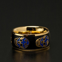 Alexander McQueen | Medium Enamel Skull Ring in Black/Blue www.FORWARDbyelysewalker.com