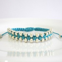 Macrame Square Knot Bracelet With Silver Seed Beads - Custom Colour