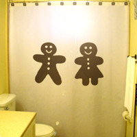 Christmas Shower Curtain Gingerbread Man Woman Ginger Bread Men&#x27;s Room Ladies Washroom Sign funny cute