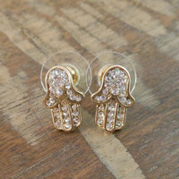 Hamsa Hand Earrings - Gold Rhinestone Hamsa Hand Earrings