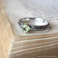 Square Princess Cut Peridot Engagement Promise Stacking Ring