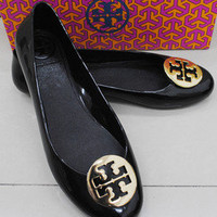 Tory Burch METAL Jelly Rubber Flat shoes BLACK/GOLD