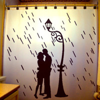 Lovers in the Rain Shower Curtain Love Romance Couple Lamp Post romantic raining valentine&#x27;s day