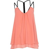 Coral layered swing cami top