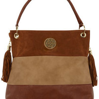 Tan colourblock slouch bag