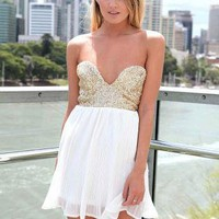 White Chiffon Strapless Dress with Sequin Top