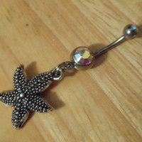 Belly Button Ring - Starfish Belly Button Ring with crystal AB gem