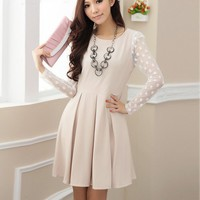Spring/Fall/Winter Fashion Women Cute Lace Long-Sleeve Dress