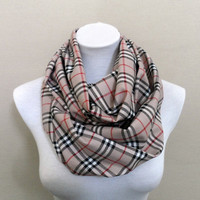 Burberry Style Circle Scarf, Infinity Scarf, Loop, Scarves, Shawls, Spring - Fall - Winter Fashion - Ready to Ship