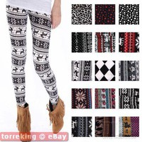 Womens Multi-Style Nordic Snow Flake Reindeer Knitted Xmas Leggings Tights Pants