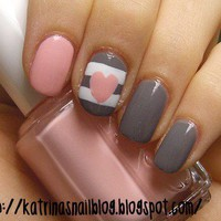 Grey Pink Heart Nails