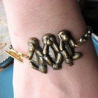 monkey bracelet - gold - 3 wise monkeys
