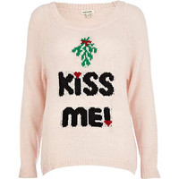 Pink kiss me Christmas jumper