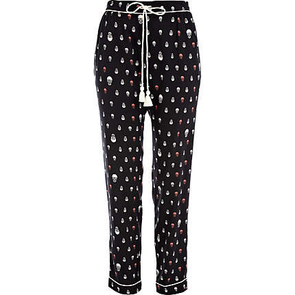 Black skull print pyjama bottoms